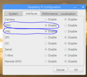 enable vnc and ssh on raspberry pi